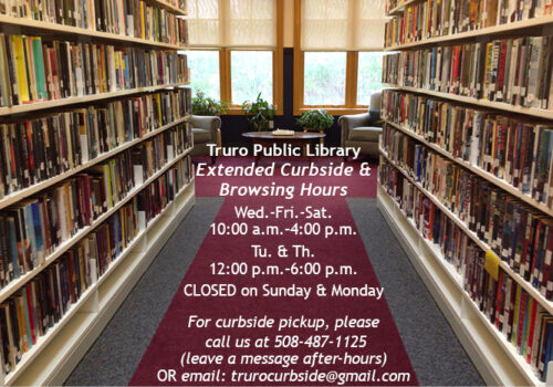Image of library interior with library hours--Tuesday and Thursday noon to 6 p.m., Wednesday Friday and Saturday 10 a.m. to 4 p.m., closed on Sunday and Monday